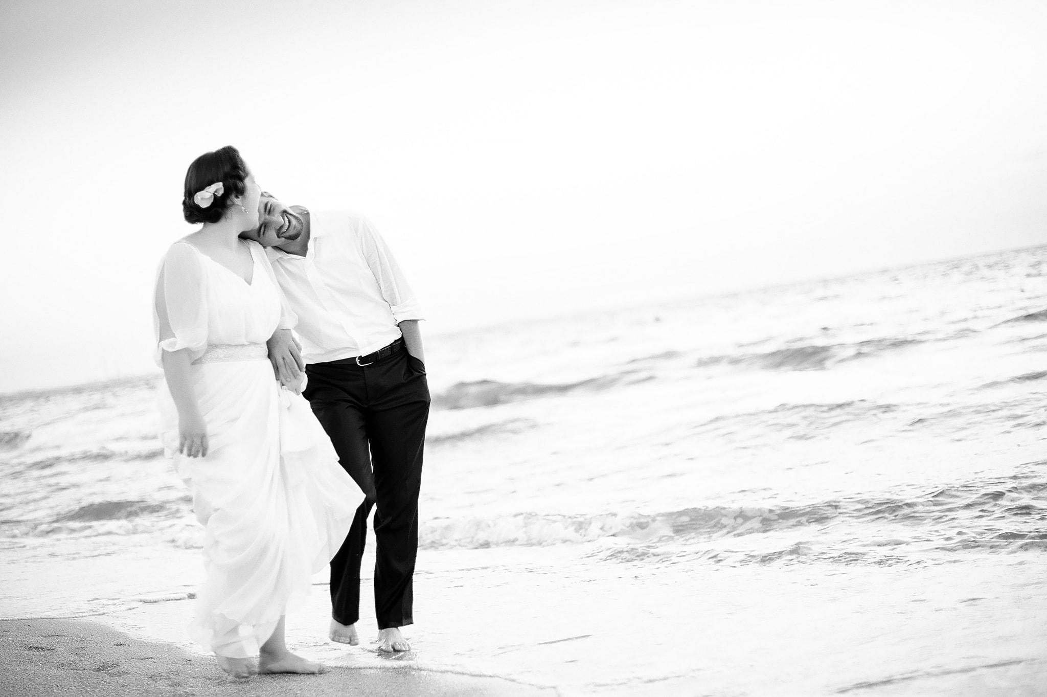 Seaside bride groom portraits
