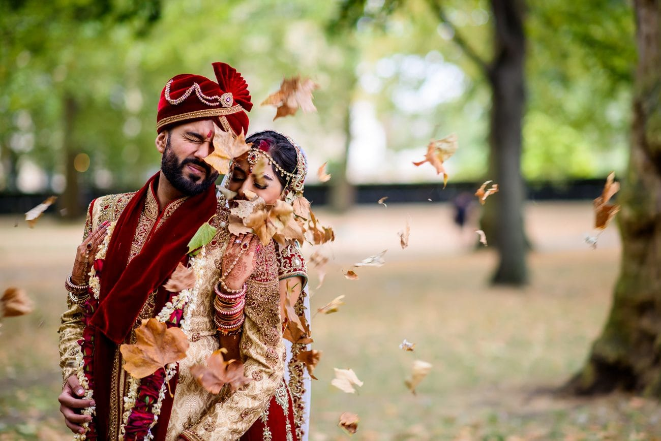 Green park hindu wedding bride groom portraits